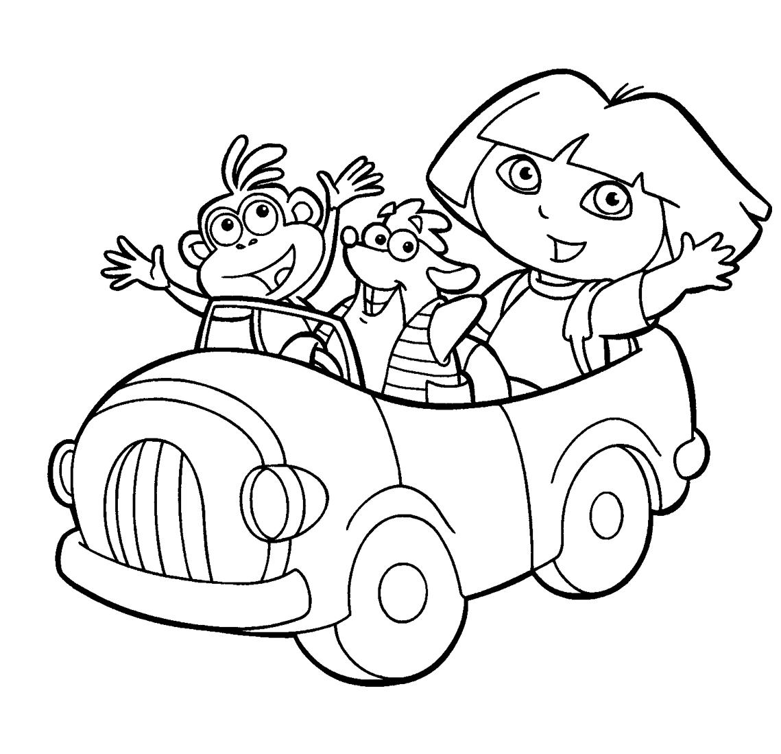 Dibujo para pintar dibujo para colorear dora la exploradora en coche