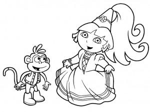 Dibujo para pintar Dora la exploradora Princesa