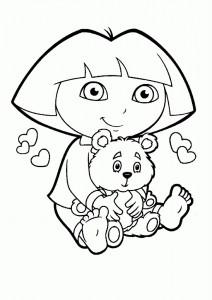 Dibujo para pintar Dora la Exploradora Osito