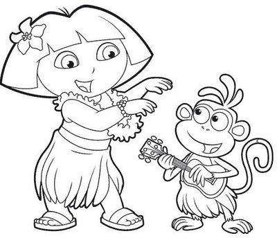 Dibujo para colorear Dora la exploradora y Botas