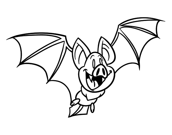 Dibujo para colorear de un murciélago