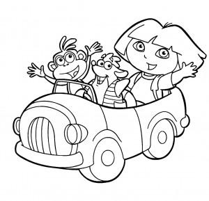 Dibujo para colorear Dora la exploradora en coche