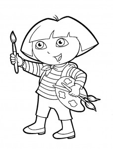 Dibujo para colorear Dora la exploradora Pintora